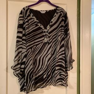 Fun Black, White Zebra Print Top, Jeweled Neckline